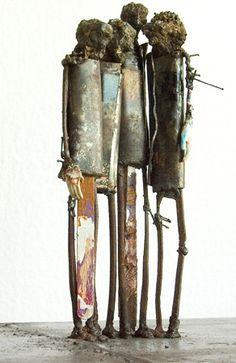 Mixed media metal sculptures: ''Standing Four III'', 21x73x27 cm - mixed media sculptures artist Johan P. Jonsson