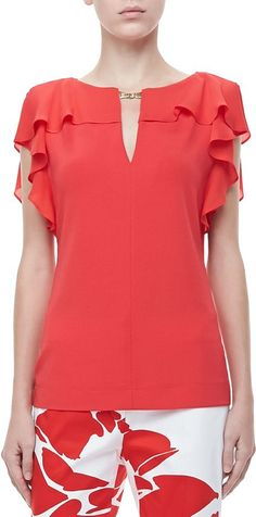 Shop for Escada Ruffle-Sleeve Silk Top, Poppy at ShopStyle. Blouse Patterns, Clothing Patterns, Blouse Designs, Sewing Patterns, Dress Clothes For Women, Cool Outfits, Fashion Outfits, Mode Style, Sewing Clothes