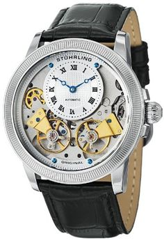Stuhrling Original Mens 368B33152 Symphony Aristocrat Gemini II Automatic Skeleton Silver Tone Black Leather Strap Watch *** Read more  at the image link.