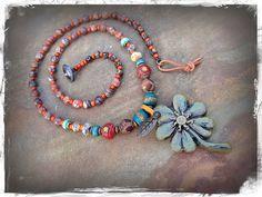 LUCKY CLOVER necklace Good Luck necklace artisan FOUR by GPyoga, $83.00