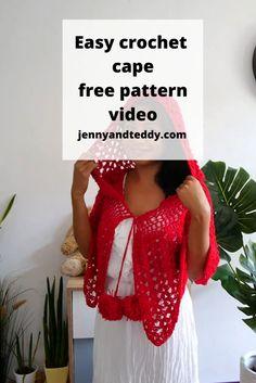 Crochet Romper, Crochet Cape, Crochet Shawl, Easy Crochet, Free Crochet, Scrap Yarn Crochet, Crochet Scarves, Crochet Clothes, Crochet Triangle Scarf