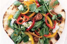 Grilled Chorizo, Goat Cheese, and Watercress Pita Pizzas