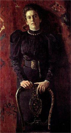 ▴ Artistic Accessories ▴ clothes, jewelry, hats in art - Portrait of T.L. Tolstaya, 1893  Ilya Repin