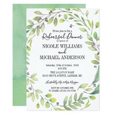 RUSTIC Green watercolor WREATH Rehearsal Dinner Card - rustic gifts ideas customize personalize