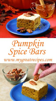 These easy #bars are a scrumptious way to offer friends and family a warm winter welcome and forkfuls of good cheer! #pumpkin