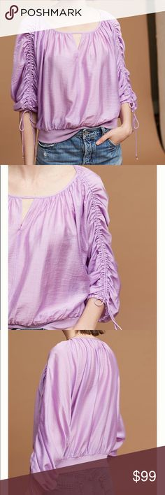 Maeve for Anthropologie Lavender Tied Blouse New! Size Medium, New With Tags! Anthropologie Tops Blouses