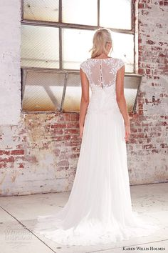 kwh by karen willis holmes 2015 bridal illusion strap v neckine beaded embroidery sheath wedding dress peony back view