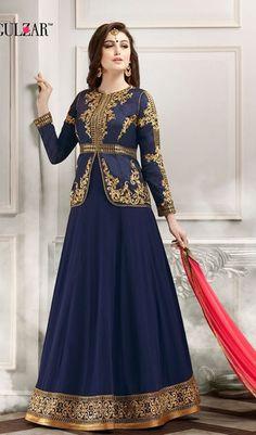 631301daad Blue Peach Jacket Style Georgette Abaya Style Anarkali Suit With Dupatta