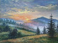 Nature oil painting Sunrise wal art Original artwork Blue mountains landscape Unique gift for Him Horizontal wall decor by ColorPictureStakhiv on Etsy Landscape Artwork, Contemporary Landscape, Cool Landscapes, Watercolor Landscape, Landscape Photos, Landscape Design, Fantasy Landscape, Landscape Architecture, Photos Black And White