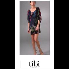 "TIBI  SILK HUMMINGBIRD 3/4 RAGLAN SLEEVES DRESS TIBI  SILK HUMMINGBIRD RUCHED 3/4 RAGLAN SLEEVES SHIFT DRESS  SZ 6  36"" BUST 33"" LENGTH SELF: 100% SILK LINING: 100% POLYESTER  RETAILS $345 Tibi Dresses"