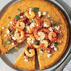 Shrimp 'n' Grits Pie | Use a whisk to beat the eggs vigorously and your grits pie will have a light and airy texture.