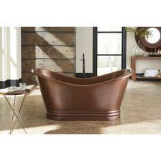 Sinkology Euclid Freestanding Bathtub 6-foot Handmade Antique Copper Bathtub w/Overflow   Overstock.com Shopping - The Best Deals on Soaking Tubs