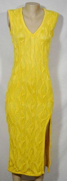 COOGI Yellow Sleeveless Sweater Dress Medium Mid-Calf Length Unlined 100% Cotton #COOGI #SweaterDress #Casual