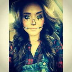 Halloween costume & makeup - woman scarecrow, easy costume, just add overalls and a flannel shirt.
