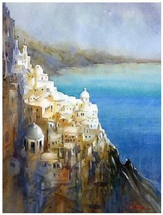 santorini by Thomas W Schaller Watercolor ~ 24 inches x 18 inches
