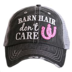 Hat {Barn hair don't care} Horseshoe in pink, blue or white.