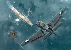 """pinturas-sgm-aviacion: """"1942 Midway Ataque contra el Hiryu - Howard Gerrard """""""