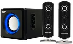 Sharper Image Bluetooth Streaming 2.1 Speakers With Subwoofer & LED Ambient Light(Black). Tri-speaker system including subwoofer with Separate bass & treble control. Can be used as computer speakers, or as living room streaming speakers. Integrated wireless Bluetooth technology or auxiliary 3.5 mm jack for wired use. Universal compatible with any Bluetooth device ,working with iPhone/iPad or android phones/tablets. Blue ambient LED light effects. Plug speaker directly to wall outlet. 2.1...