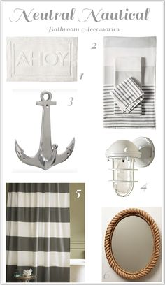 The Nest Chapter: Neutral Nautical Bathroom Accessories - Modern Nautical Bathroom Accessories, Nautical Bathrooms, Beach Bathrooms, Bathroom Kids, Bathroom Renos, Bohemian Bathroom, Neutral Bathroom, Hall Bathroom, Bathroom Modern