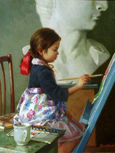"Children Paintings by Russian Figurative Painter ""Eugeni Balakshin"" Russian Painting, Russian Art, Paintings I Love, Beautiful Paintings, Artist Art, Artist At Work, Adorable Petite Fille, Art Et Illustration, Art History"