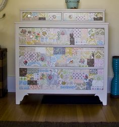 I love how colorful paper was decoupaged in a patchwork pattern to the front of the dresser drawers! What a pretty look for a girls bedroom!
