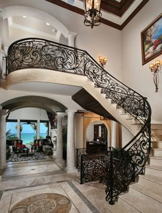 Wrought Iron Stair Railing Staircase Mediterranean with Iron Balcony Iron Railin Stair Railing Ideas Balcony iron Mediterranean railin railing stair Staircase Wrought Wrought Iron Stair Railing, Staircase Railings, Stairways, Iron Railings, Curved Staircase, Grand Staircase, Luxury Staircase, Interior Staircase, Railing Design