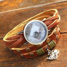 Retro Wrapped Twice Cat Leather Bracelet Watch