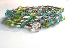Waterfall crochet wrap bracelet Bohemian crochet by 3DivasStudio