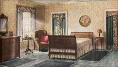 Ad for an Armstrong Bedroom Set, 1921. A bedroom from the 1920's. Notice the simple, wood headboard and baseboard on the bed to match the varnished wood vanity. Also, notice how the floral print curtains match the drapes in front of the closet.