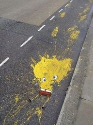 spongebob sidewalk art