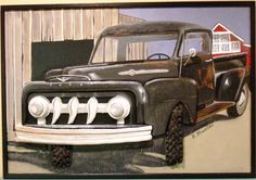 "This mostly wood relief, features cut-outs that give this old truck it's dimension. Titled: ""51' Proud""."