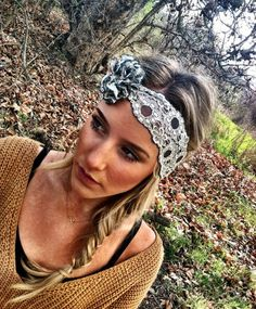 Stretchy Lace Headbands - Gray & Ivory Stretch Lace with Lacey Flower wedding vintage head band (HLF-01). $19.00, via Etsy.