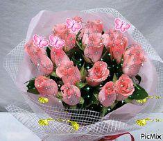 Clique sur l'image ! Visitez notre site : Http://letopdelhumour. Flowers Gif, Beautiful Bouquet Of Flowers, Love Flowers, Beautiful Gif, Beautiful Roses, Glitter Images, Amazing Gifs, Morning Flowers, Romantic Pictures