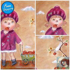 Harvest autumn - acrylic painting little girl picking apple naive painting Fall Harvest, Autumn, Virtual Museum, Joy Of Life, Fluid Acrylics, Naive Art, My Works, Folk Art, Art For Kids