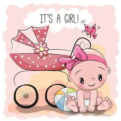 Greeting card it is a girl with baby - Acquista questo vettoriale stock ed esplora vettoriali simili in Adobe Stock Baby Shower Card Sayings, Baby Shower Greetings, Baby Shower Greeting Cards, Baby Girl Clipart, Baby Shower Clipart, Its A Girl Announcement, New Baby Announcements, Cute Funny Babies, Cute Kids