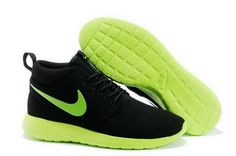 official photos a5805 65b0e Nike Roshe Run High Cut Mens Black Green Shoes Nike Shoes For Sale, Cheap  Nike