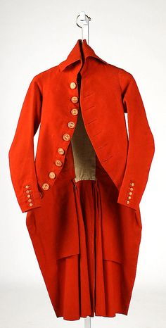 Unknown Maker. Men's Wool Coat. 1787–92. French. Very dashing.