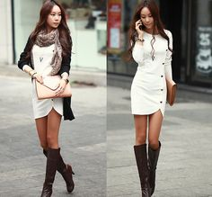Buttons Design Long Sleeve Round Collar Solid Colour Pullover Dress | GonChas