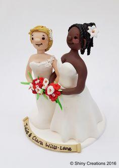 Julie & Clara's #Wedding #caketopper June 2016 #Handmade by Shiny Creations #Handmade #personalised #gay #lesbian #samesex #Wedding #caketoppers from #Shinycreations