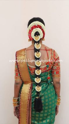 Order Fresh flower poolajada, bridal accessories from our local branches present over SouthIndia, Mumbai, Delhi, Singapore and USA. Bridal Hairstyle Indian Wedding, Bridal Hairdo, Indian Bridal Hairstyles, Bride Hairstyles, Telugu Brides, Telugu Wedding, Indian Flowers, Hindu Bride, South Asian Bride