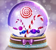 Christmas Candies Merry Christmas and Happy New Year Snow Globe Merry Christmas Greetings, Merry Christmas And Happy New Year, Christmas Wishes, Christmas Time, Xmas Pics, Xmas Pictures, Holiday Wallpaper, Glass Ball, Christmas Candy