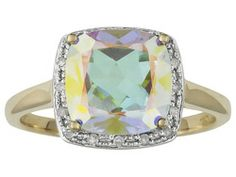 Mercury Mist(Tm) Mystic Topaz 3.85ct With .08ctw White Diamond 10k Yellow Gold Ring
