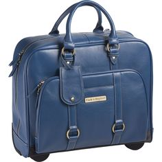 """Buy the Clark & Mayfield Hawthorne Leather Rolling 17.3"""" Laptop Bag at eBags - Take a weight off your shoulders by carrying your laptop and other gear inside this chic rolling lap"""