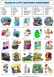 places in a city matching exercise vocabulary worksheet icon