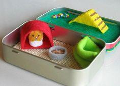 Hamster miniature felt plush in Altoid tin playset - snuggle bag ramp house play food