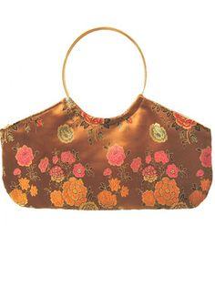 Handbag gold floral Chinese satin brocade