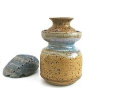 Studio Stoneware Vase • Blues Browns Grey • MidCentury Weed Pot • Adjustable Size Two Piece by KatesChockfullAttic on Etsy