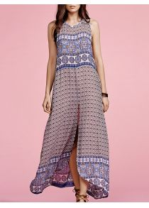 52621d1563f5 Stylish Round Neck Sleeveless Ethnic Print Women s Maxi Dress Boho Dress