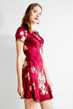 GRUNGE 1990s vintage silk floral mini DRESS Sm Md