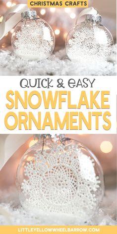 Diy Christmas Snowflakes, Diy Christmas Decorations Easy, Christmas Ornaments To Make, Easy Christmas Crafts, Homemade Christmas Gifts, Easy Diy Crafts, Vintage Christmas, Christmas Time, Simple Snowflake